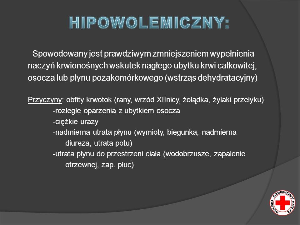 Spowodowany jest prawdziwym zmniejszeniem wypełnienia naczyń krwionośnych wskutek nagłego ubytku krwi całkowitej, osocza lub płynu pozakomórkowego (wstrząs dehydratacyjny) Przyczyny: obfity krwotok (rany, wrzód XIInicy, żołądka, żylaki przełyku) -rozległe oparzenia z ubytkiem osocza -ciężkie urazy -nadmierna utrata płynu (wymioty, biegunka, nadmierna diureza, utrata potu) -utrata płynu do przestrzeni ciała (wodobrzusze, zapalenie otrzewnej, zap.