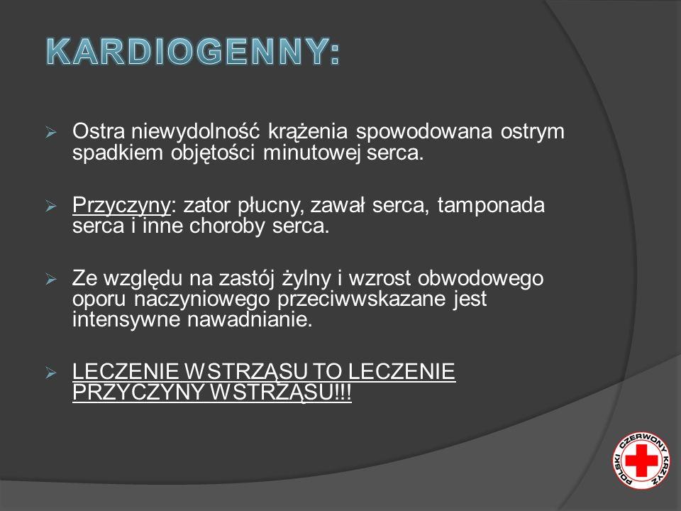 Ostra niewydolność krążenia spowodowana ostrym spadkiem objętości minutowej serca. Przyczyny: zator płucny, zawał serca, tamponada serca i inne chorob