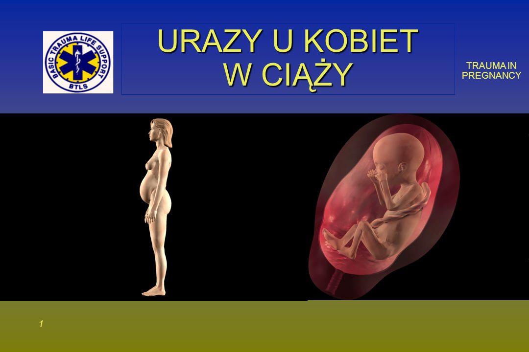 TRAUMA IN PREGNANCY 1212 UCISK ŻYŁY PRÓŻNEJ DOLNEJ Powiększająca się macica powoduje ucisk na żyłę próżną, kiedy matka leży na wznak Powiększająca się macica powoduje ucisk na żyłę próżną, kiedy matka leży na wznak – Zredukowanie powrotu żylnego i rzutu serca nawet o 30% – Może występować po 20 tygodniu ciąży
