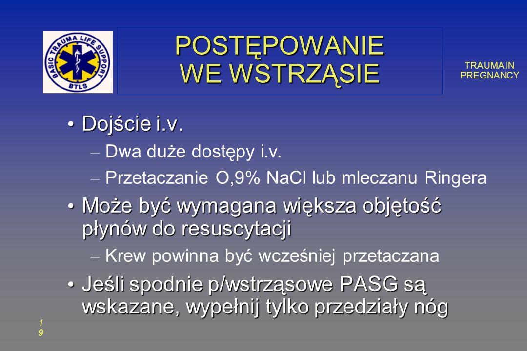 TRAUMA IN PREGNANCY 1919 POSTĘPOWANIE WE WSTRZĄSIE Dojście i.v.