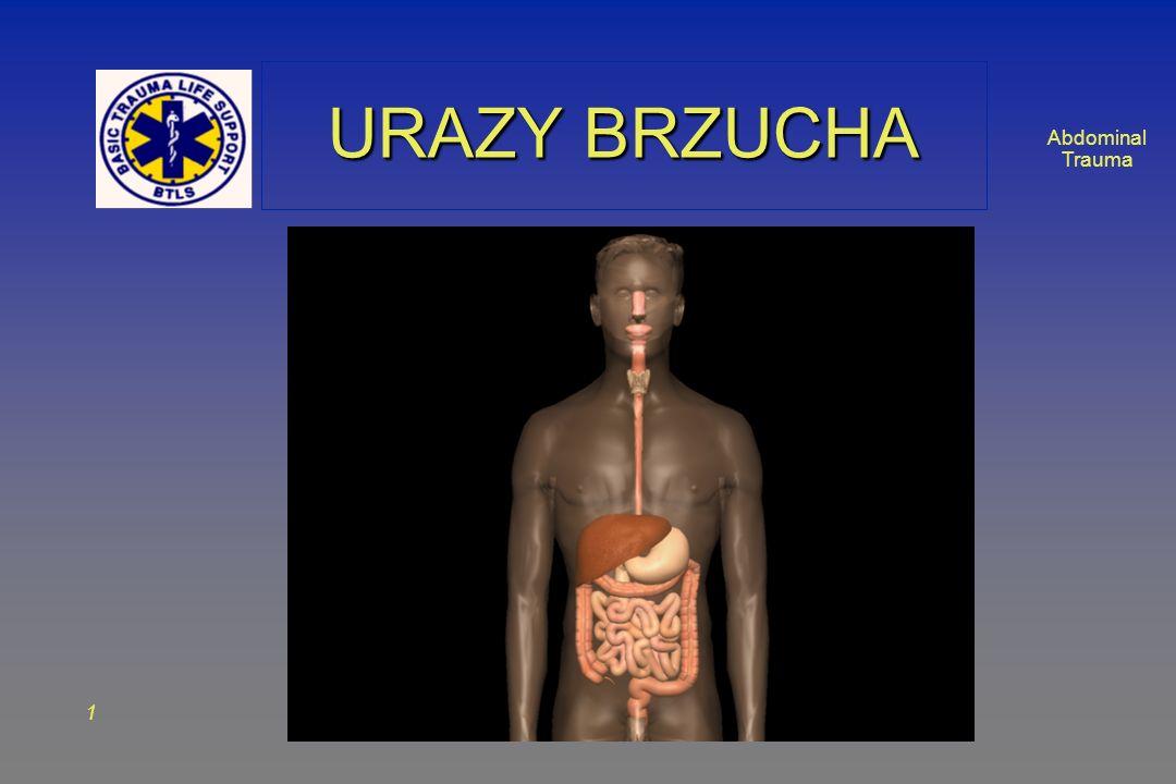 Abdominal Trauma 2 ZAGADNIENIAZAGADNIENIA Anatomia Anatomia Rodzaje urazów Rodzaje urazów – Tępe – Penetrujące Ocena pacjenta z urazem brzucha Ocena pacjenta z urazem brzucha Postępowanie w urazie brzucha Postępowanie w urazie brzucha