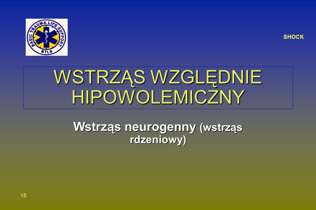 SHOCK 15 WSTRZĄS WZGLĘDNIE HIPOWOLEMICZNY Wstrząs neurogenny (wstrząs rdzeniowy)