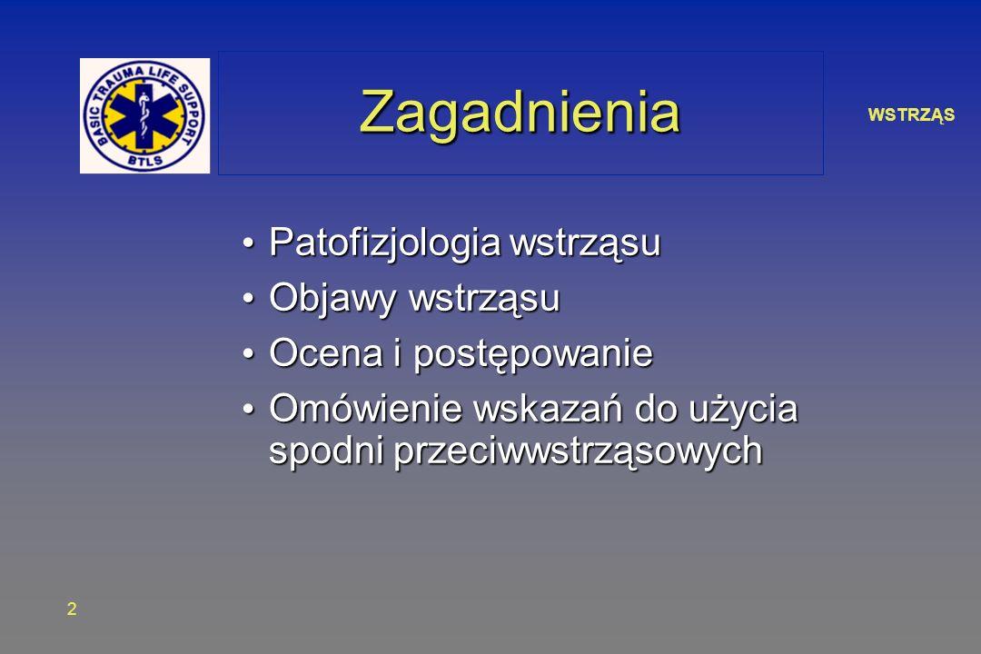 WSTRZĄS 2 ZagadnieniaZagadnienia Patofizjologia wstrząsu Patofizjologia wstrząsu Objawy wstrząsu Objawy wstrząsu Ocena i postępowanie Ocena i postępow