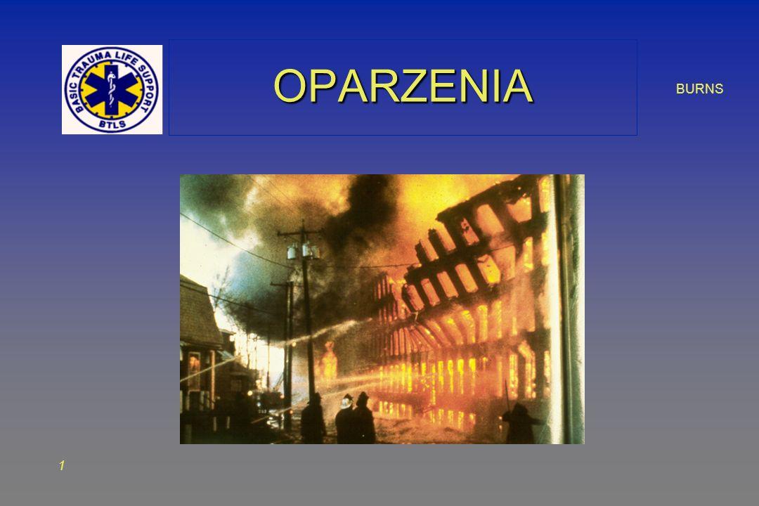 2 ZAGADNIENIAZAGADNIENIA Budowa i funkcje skóry Budowa i funkcje skóry Rodzaje oparzeń Rodzaje oparzeń Postępowanie w oparzeniach Postępowanie w oparzeniach Oparzenia inhalacyjne Oparzenia inhalacyjne Narażenia na gazy toksyczne Narażenia na gazy toksyczne Centra oparzeniowe Centra oparzeniowe