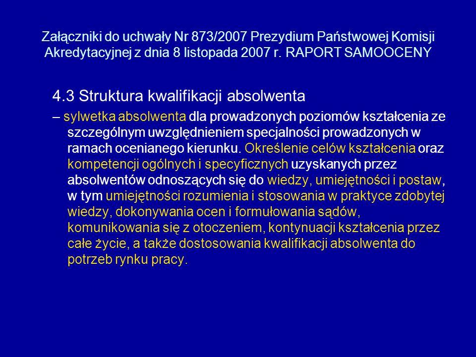 Załączniki do uchwały Nr 873/2007 Prezydium Państwowej Komisji Akredytacyjnej z dnia 8 listopada 2007 r.