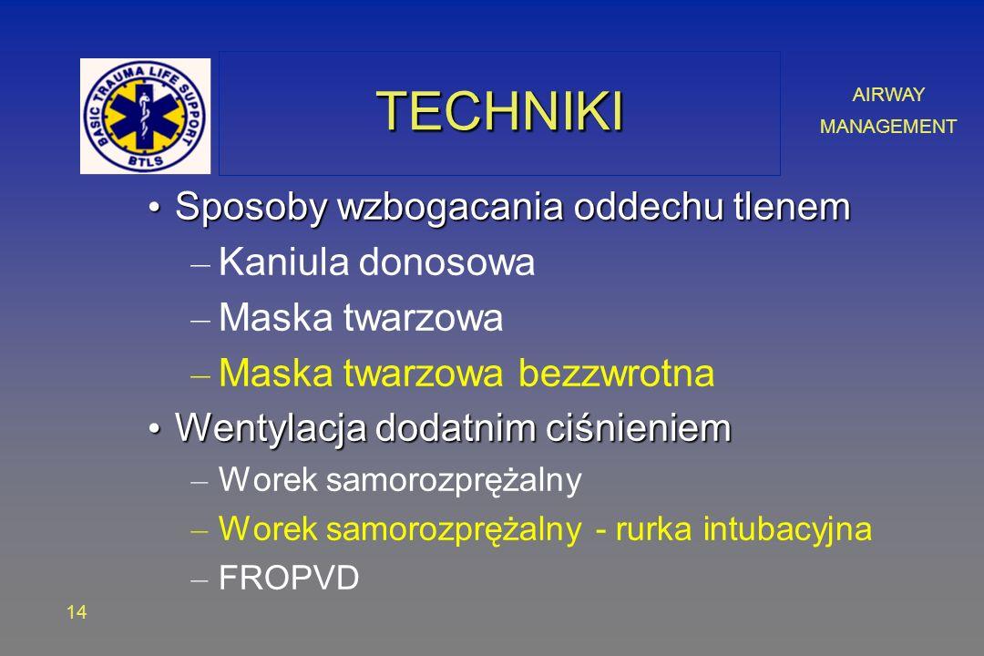 AIRWAY MANAGEMENT 14 TECHNIKITECHNIKI Sposoby wzbogacania oddechu tlenem Sposoby wzbogacania oddechu tlenem – Kaniula donosowa – Maska twarzowa – Maska twarzowa bezzwrotna Wentylacja dodatnim ciśnieniem Wentylacja dodatnim ciśnieniem – Worek samorozprężalny – Worek samorozprężalny - rurka intubacyjna – FROPVD