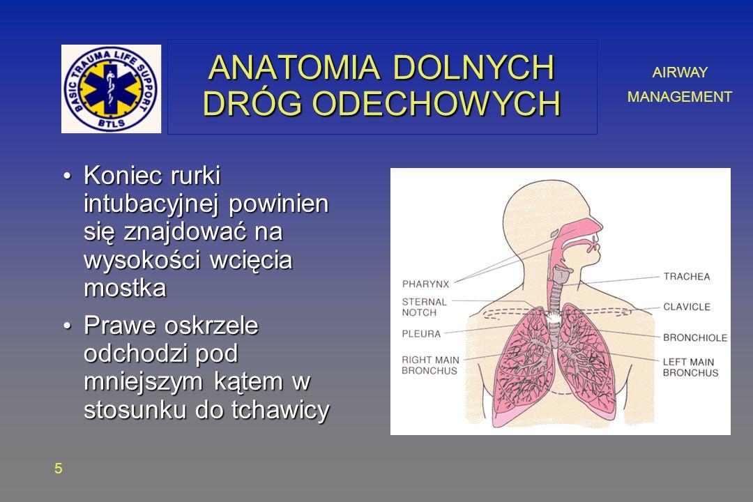 AIRWAY MANAGEMENT 5 ANATOMIA DOLNYCH DRÓG ODECHOWYCH Koniec rurki intubacyjnej powinien się znajdować na wysokości wcięcia mostka Koniec rurki intubacyjnej powinien się znajdować na wysokości wcięcia mostka Prawe oskrzele odchodzi pod mniejszym kątem w stosunku do tchawicy Prawe oskrzele odchodzi pod mniejszym kątem w stosunku do tchawicy