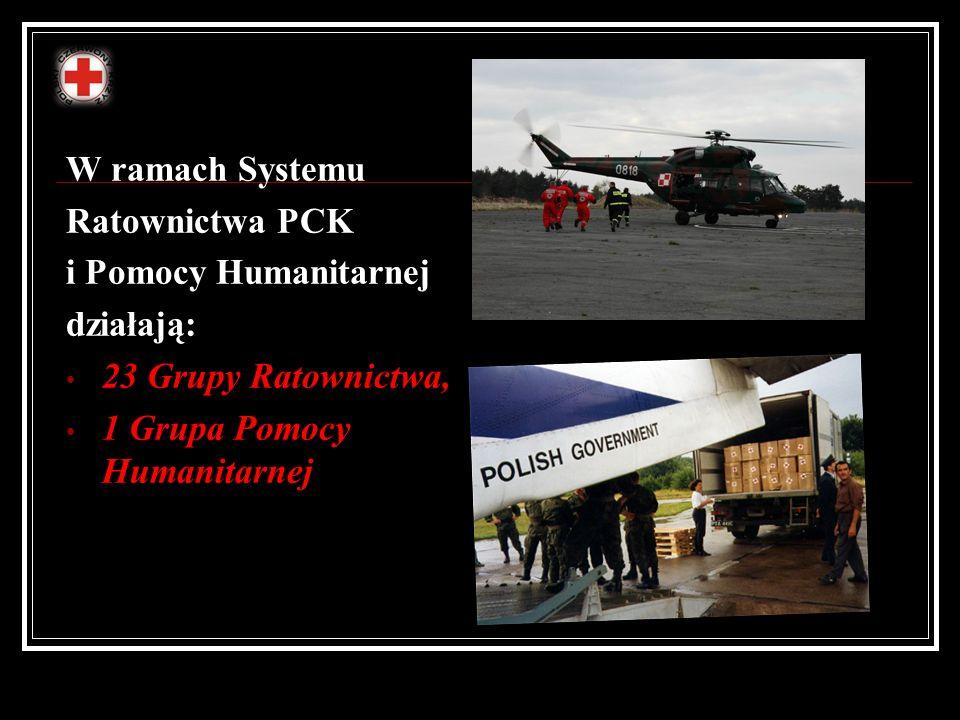 W ramach Systemu Ratownictwa PCK i Pomocy Humanitarnej działają: 23 Grupy Ratownictwa, 1 Grupa Pomocy Humanitarnej