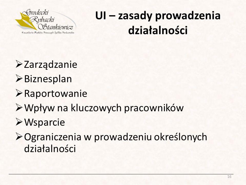 UI – zasady prowadzenia działalności Zarządzanie Biznesplan Raportowanie Wpływ na kluczowych pracowników Wsparcie Ograniczenia w prowadzeniu określony