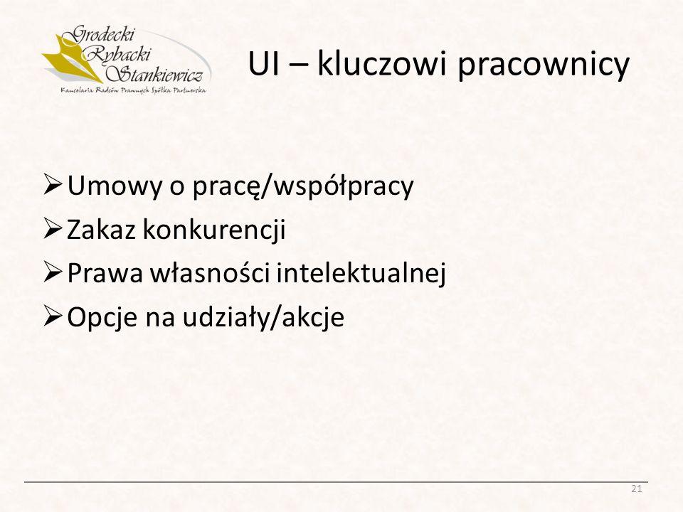 UI – kluczowi pracownicy Umowy o pracę/współpracy Zakaz konkurencji Prawa własności intelektualnej Opcje na udziały/akcje 21