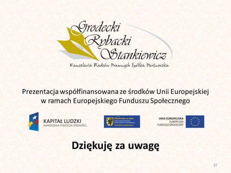 Dziękuję za uwagę 27 Prezentacja współfinansowana ze środków Unii Europejskiej w ramach Europejskiego Funduszu Społecznego
