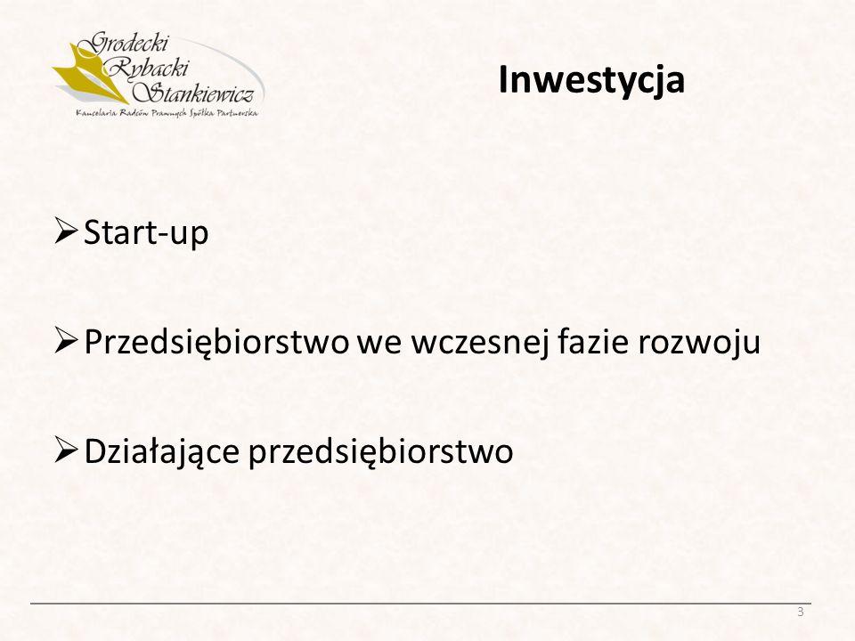 Inwestycja Start-up Przedsiębiorstwo we wczesnej fazie rozwoju Działające przedsiębiorstwo 3