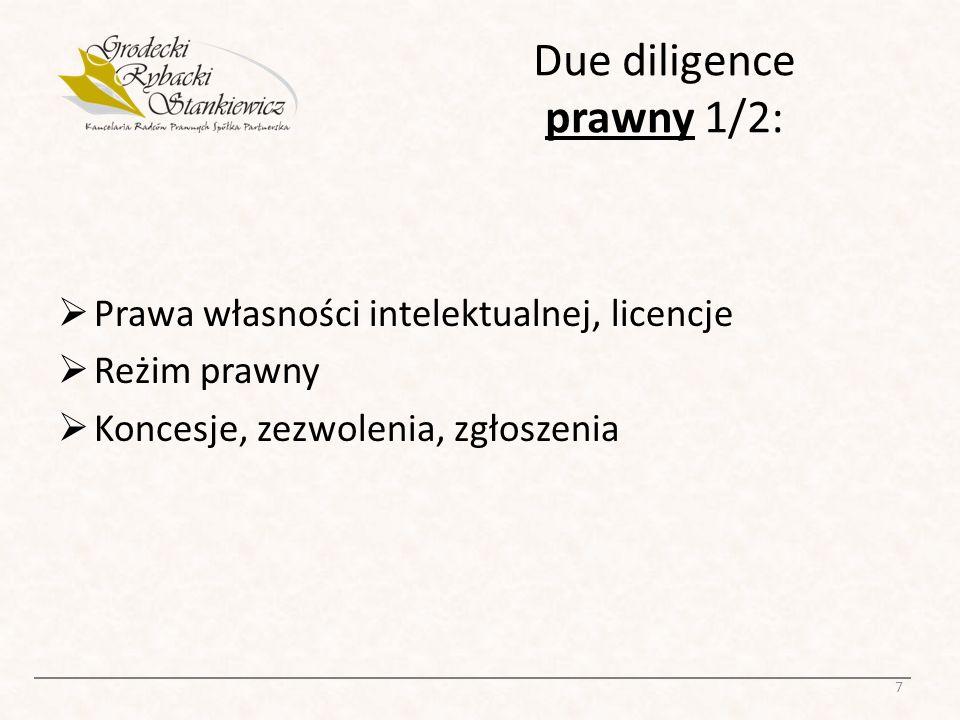 Due diligence prawny 2/2: Prawidłowość utworzenia spółki Ważność uchwał organów Ważność umów.