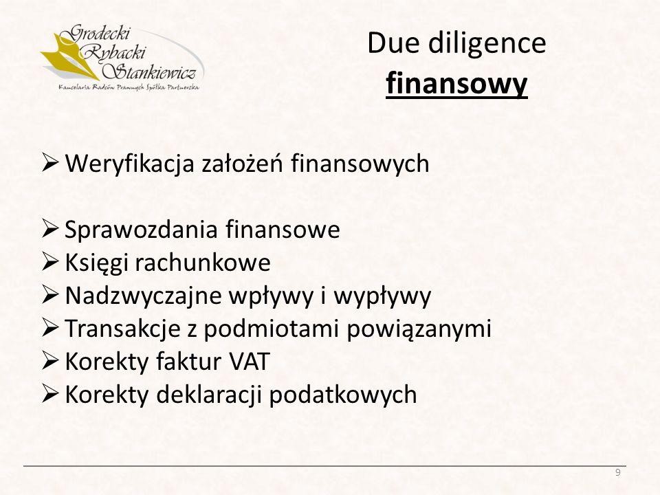 Due diligence finansowy Weryfikacja założeń finansowych Sprawozdania finansowe Księgi rachunkowe Nadzwyczajne wpływy i wypływy Transakcje z podmiotami