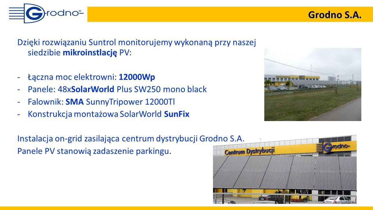 Dzięki rozwiązaniu Suntrol monitorujemy wykonaną przy naszej siedzibie mikroinstlację PV: -Łączna moc elektrowni: 12000Wp -Panele: 48xSolarWorld Plus