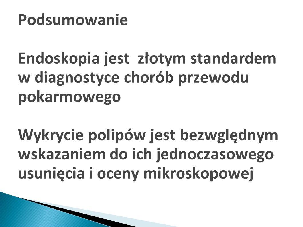 Podsumowanie Endoskopia jest złotym standardem w diagnostyce chorób przewodu pokarmowego Wykrycie polipów jest bezwględnym wskazaniem do ich jednoczas