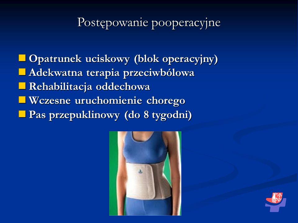 Postępowanie pooperacyjne Opatrunek uciskowy (blok operacyjny) Opatrunek uciskowy (blok operacyjny) Adekwatna terapia przeciwbólowa Adekwatna terapia