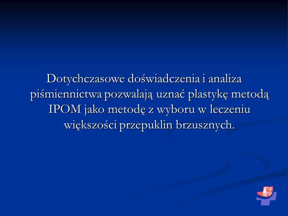 Dotychczasowe doświadczenia i analiza piśmiennictwa pozwalają uznać plastykę metodą IPOM jako metodę z wyboru w leczeniu większości przepuklin brzuszn