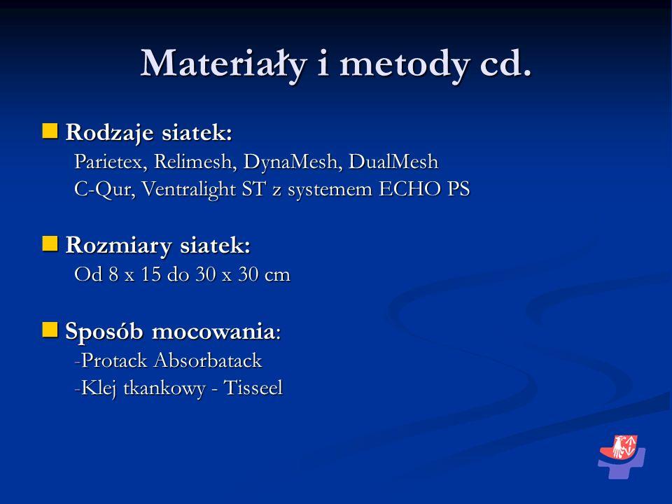 Materiały i metody cd. Rodzaje siatek: Rodzaje siatek: Parietex, Relimesh, DynaMesh, DualMesh C-Qur, Ventralight ST z systemem ECHO PS Rozmiary siatek