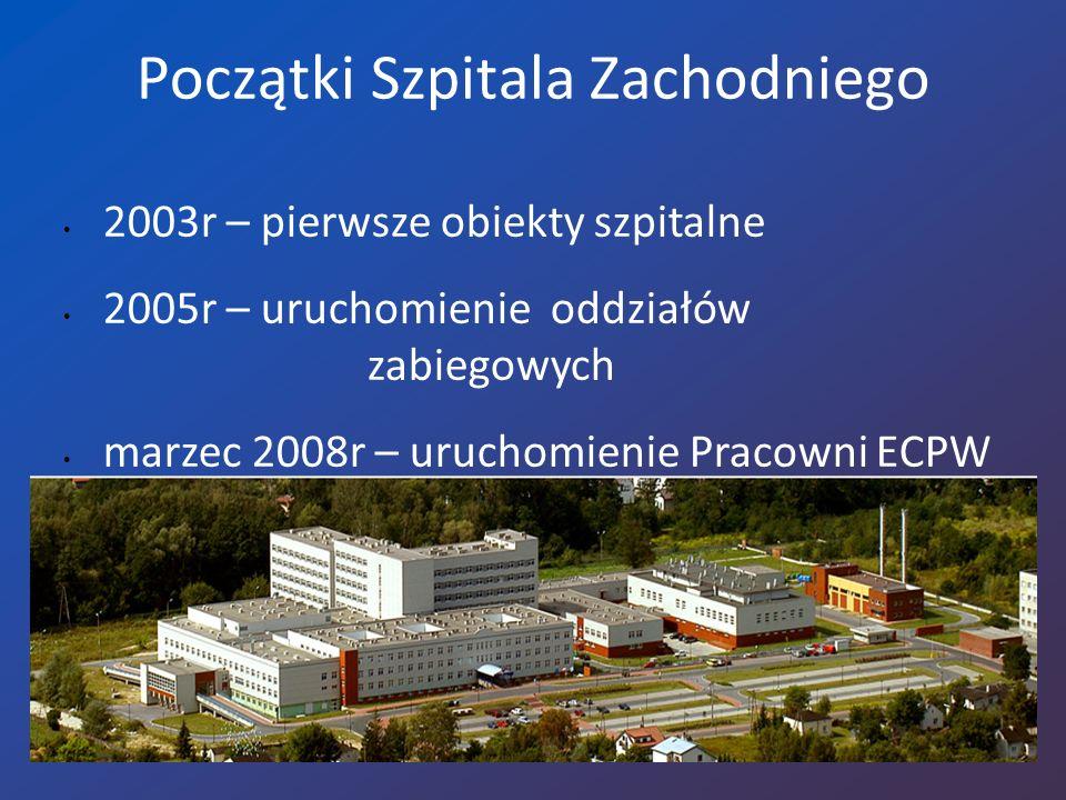 Początki Szpitala Zachodniego 2003r – pierwsze obiekty szpitalne 2005r – uruchomienie oddziałów zabiegowych marzec 2008r – uruchomienie Pracowni ECPW