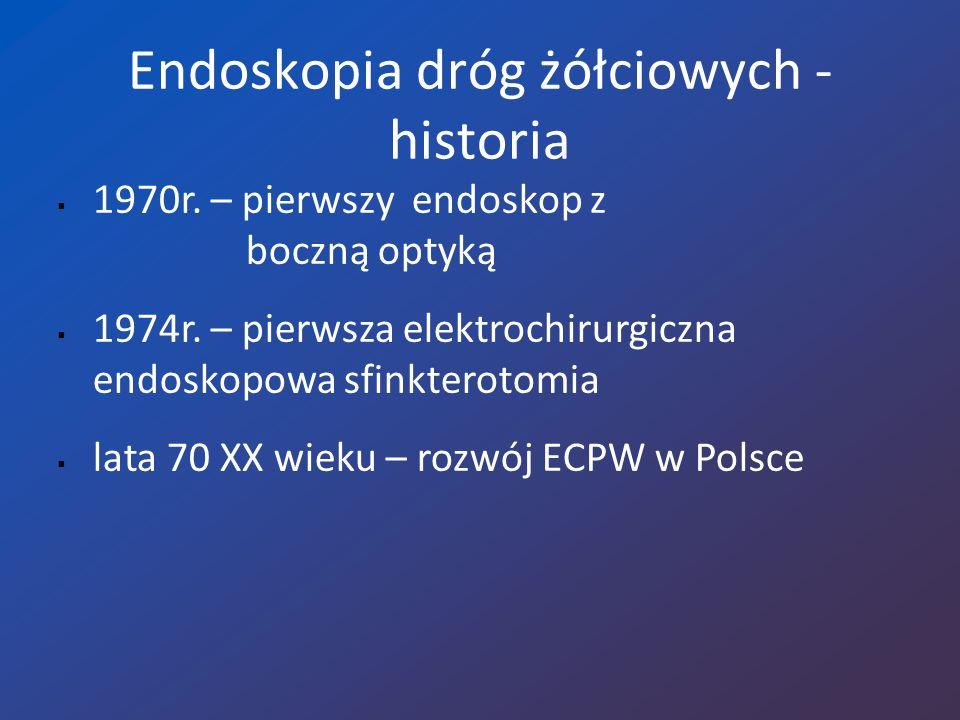 Wskazania do ECPW Cholestaza zewnątrzwątrobowa Zapalenie dróg żółciowych Ostre żółciopochodne zapalenie trzustki Przewlekłe zapalenie trzustki Uszkodzenie dróg żółciowych Przetoki trzustkowe