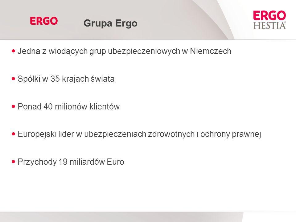 Jedna z wiodących grup ubezpieczeniowych w Niemczech Spółki w 35 krajach świata Ponad 40 milionów klientów Europejski lider w ubezpieczeniach zdrowotnych i ochrony prawnej Przychody 19 miliardów Euro Grupa Ergo