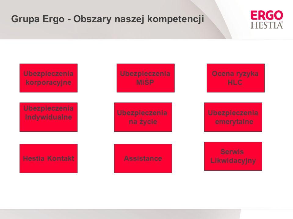 Grupa Ergo - Obszary naszej kompetencji Ubezpieczenia korporacyjne Ubezpieczenia MiŚP Ocena ryzyka HLC Ubezpieczenia Indywidualne Ubezpieczenia na życie Hestia KontaktAssistance Serwis Likwidacyjny Ubezpieczenia emerytalne