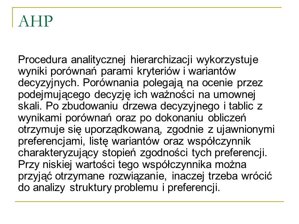 AHP Procedura analitycznej hierarchizacji wykorzystuje wyniki porównań parami kryteriów i wariantów decyzyjnych. Porównania polegają na ocenie przez p