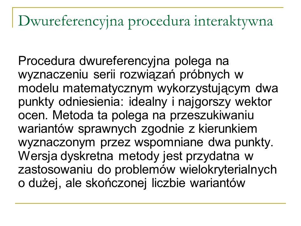 Dwureferencyjna procedura interaktywna Procedura dwureferencyjna polega na wyznaczeniu serii rozwiązań próbnych w modelu matematycznym wykorzystującym