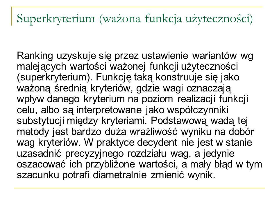 Superkryterium (ważona funkcja użyteczności) Ranking uzyskuje się przez ustawienie wariantów wg malejących wartości ważonej funkcji użyteczności (supe