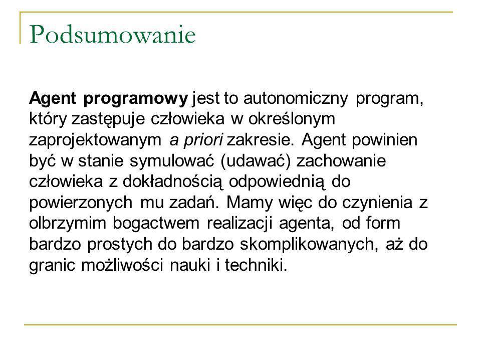 Podsumowanie Agent programowy jest to autonomiczny program, który zastępuje człowieka w określonym zaprojektowanym a priori zakresie.