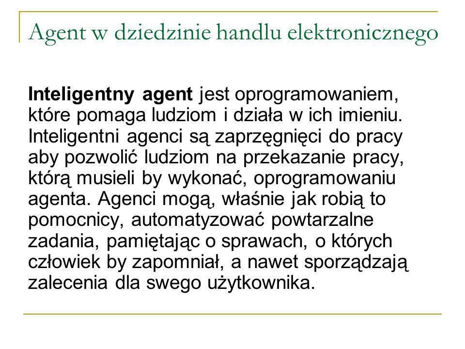 Agent w dziedzinie handlu elektronicznego Inteligentny agent jest oprogramowaniem, które pomaga ludziom i działa w ich imieniu.