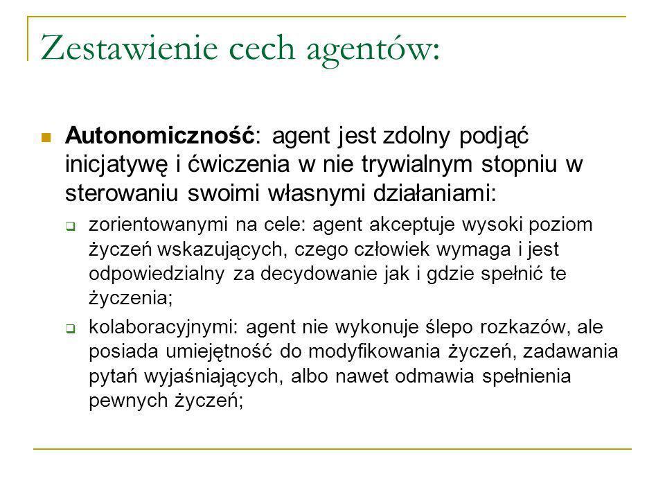 Zestawienie cech agentów: Autonomiczność: agent jest zdolny podjąć inicjatywę i ćwiczenia w nie trywialnym stopniu w sterowaniu swoimi własnymi działaniami: zorientowanymi na cele: agent akceptuje wysoki poziom życzeń wskazujących, czego człowiek wymaga i jest odpowiedzialny za decydowanie jak i gdzie spełnić te życzenia; kolaboracyjnymi: agent nie wykonuje ślepo rozkazów, ale posiada umiejętność do modyfikowania życzeń, zadawania pytań wyjaśniających, albo nawet odmawia spełnienia pewnych życzeń;