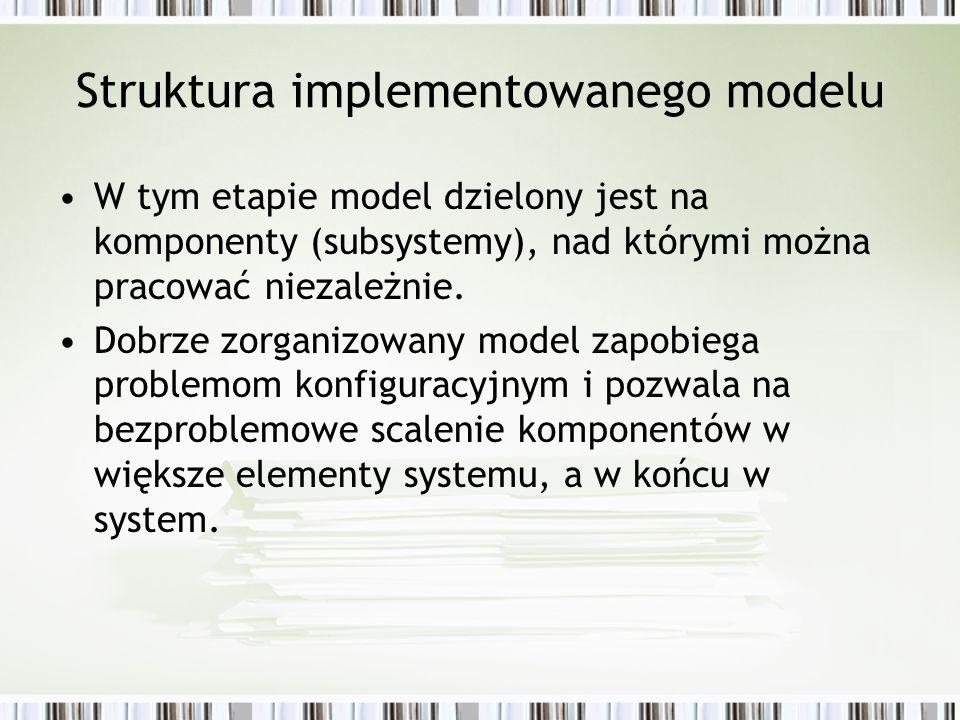 Struktura implementowanego modelu W tym etapie model dzielony jest na komponenty (subsystemy), nad którymi można pracować niezależnie. Dobrze zorganiz
