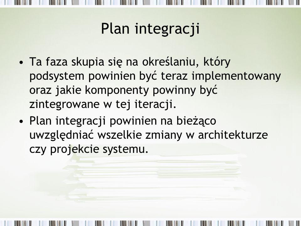 Plan integracji Ta faza skupia się na określaniu, który podsystem powinien być teraz implementowany oraz jakie komponenty powinny być zintegrowane w t