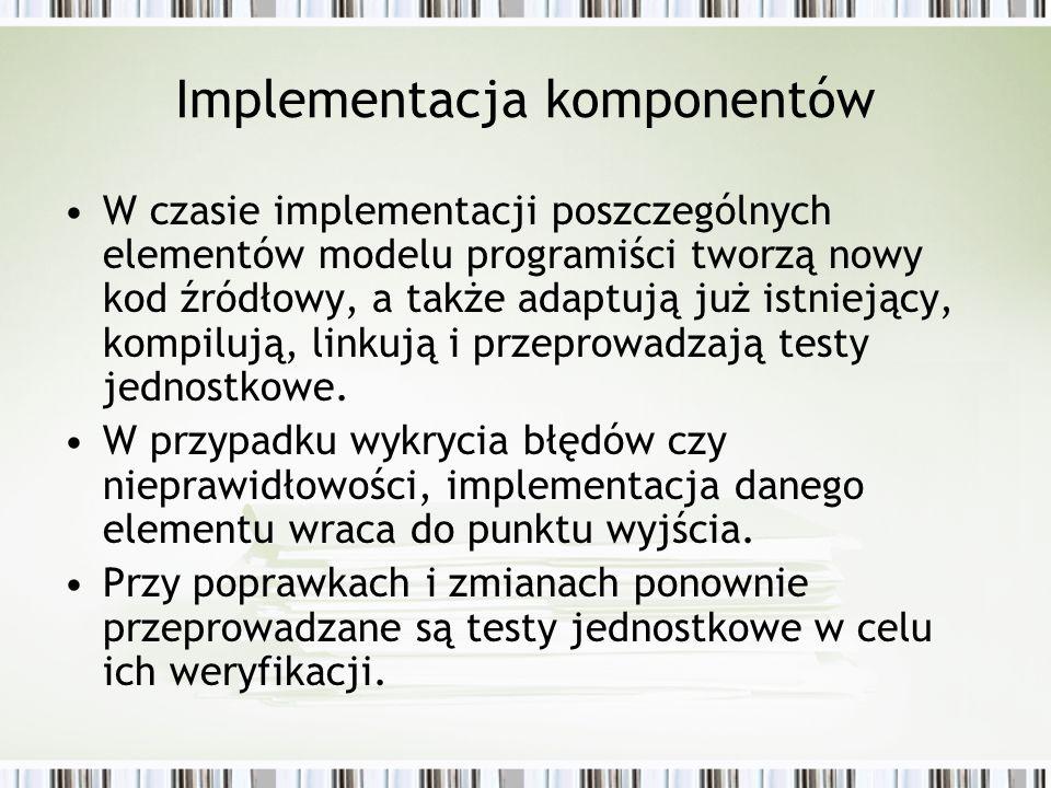 Implementacja komponentów W czasie implementacji poszczególnych elementów modelu programiści tworzą nowy kod źródłowy, a także adaptują już istniejący
