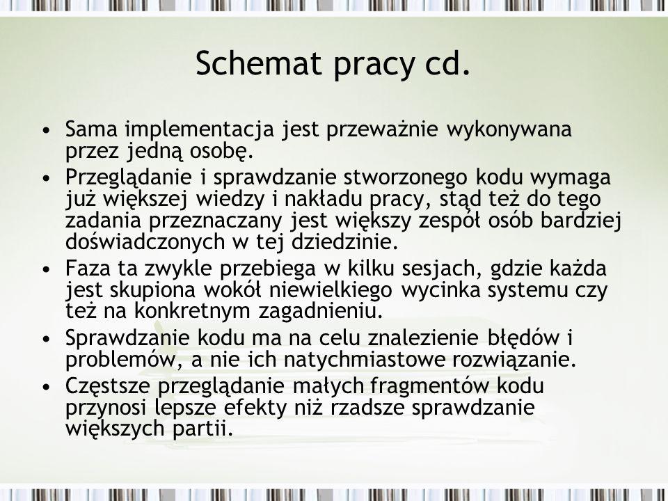 Schemat pracy cd. Sama implementacja jest przeważnie wykonywana przez jedną osobę. Przeglądanie i sprawdzanie stworzonego kodu wymaga już większej wie