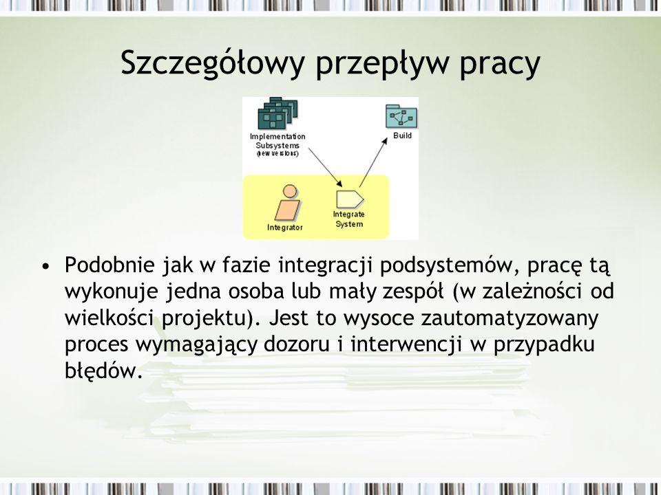 Szczegółowy przepływ pracy Podobnie jak w fazie integracji podsystemów, pracę tą wykonuje jedna osoba lub mały zespół (w zależności od wielkości proje