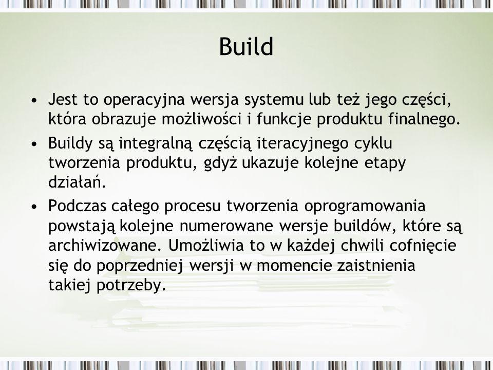 Build Jest to operacyjna wersja systemu lub też jego części, która obrazuje możliwości i funkcje produktu finalnego. Buildy są integralną częścią iter
