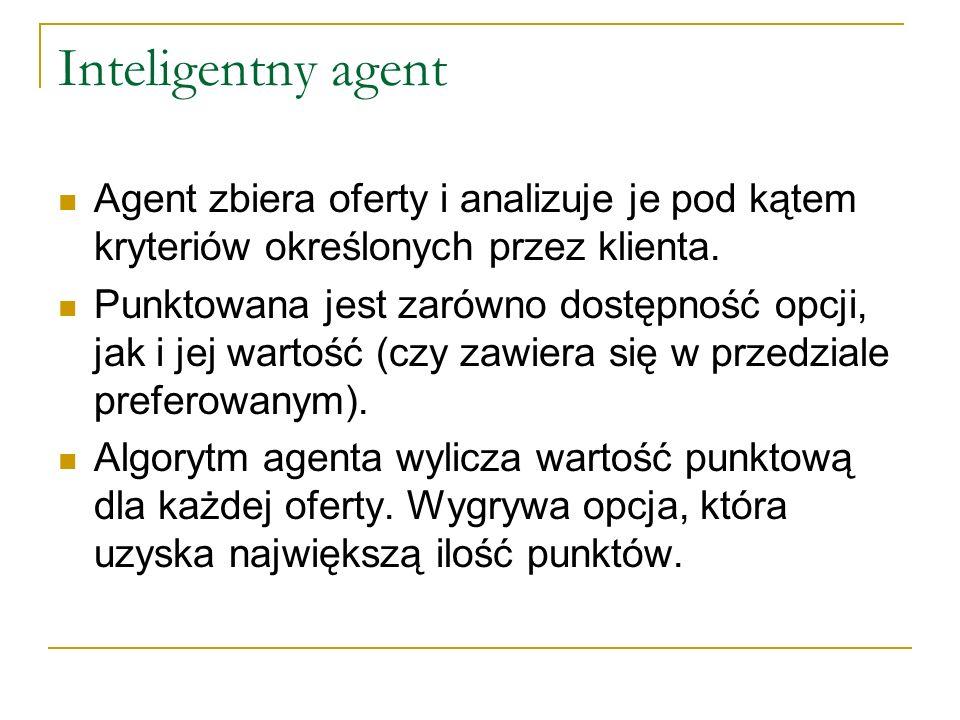 Inteligentny agent Agent zbiera oferty i analizuje je pod kątem kryteriów określonych przez klienta. Punktowana jest zarówno dostępność opcji, jak i j