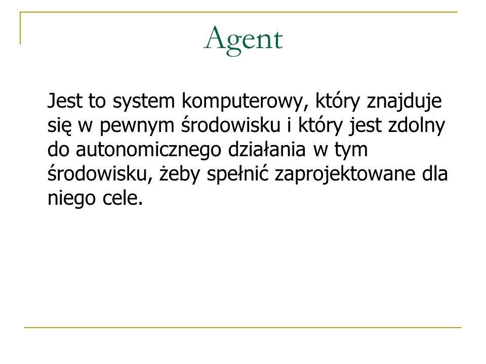 Agent Jest to system komputerowy, który znajduje się w pewnym środowisku i który jest zdolny do autonomicznego działania w tym środowisku, żeby spełni