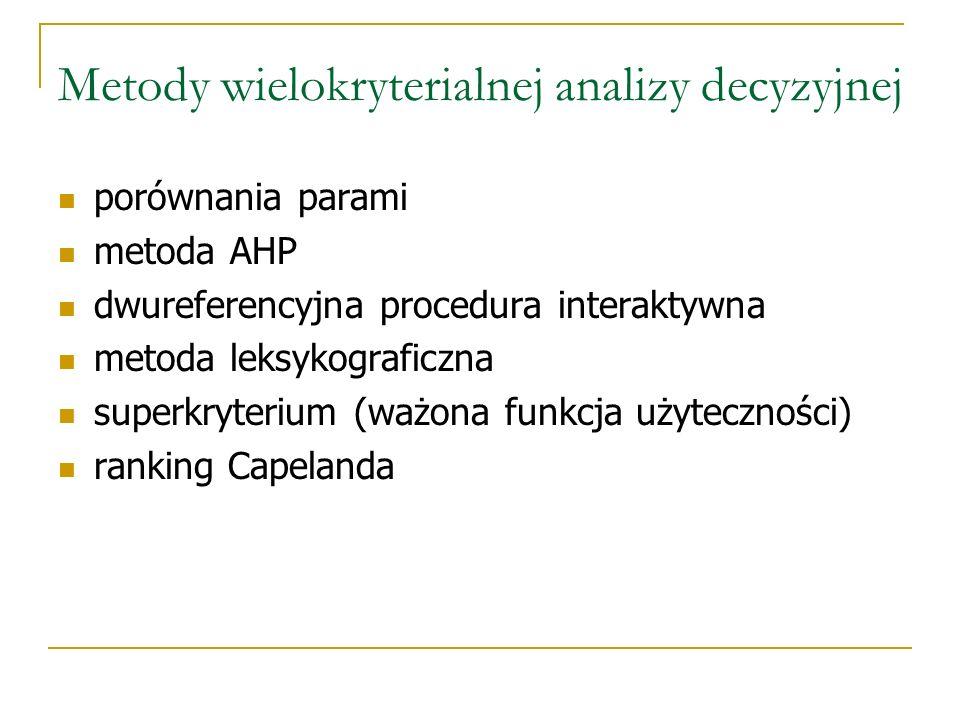 Metody wielokryterialnej analizy decyzyjnej porównania parami metoda AHP dwureferencyjna procedura interaktywna metoda leksykograficzna superkryterium
