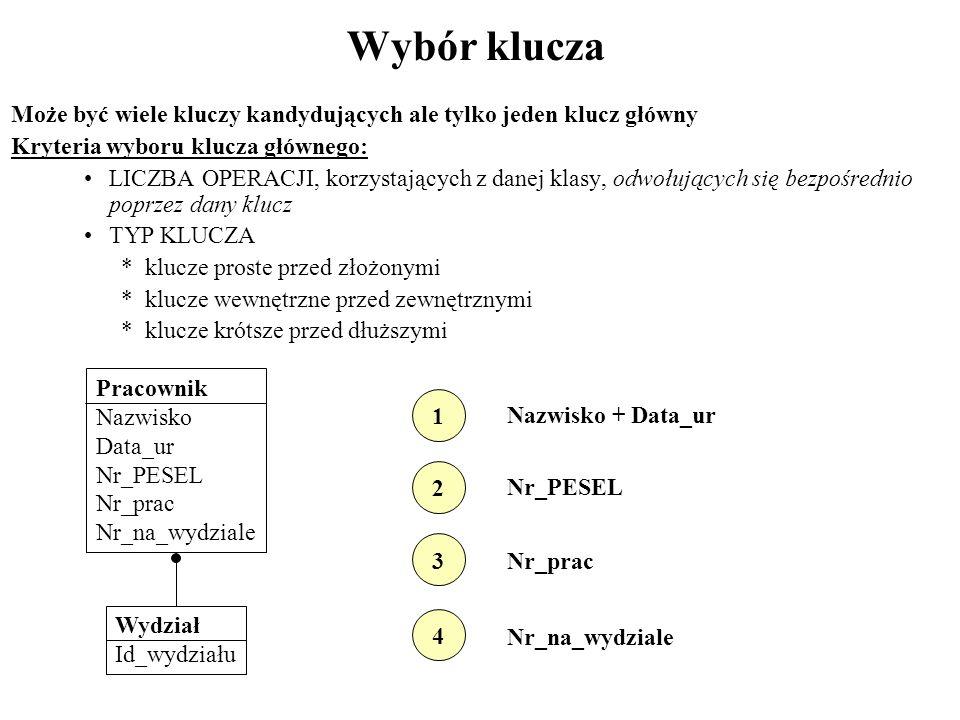 Wybór klucza Może być wiele kluczy kandydujących ale tylko jeden klucz główny Kryteria wyboru klucza głównego: LICZBA OPERACJI, korzystających z danej