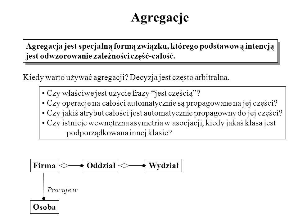 Agregacje Agregacja jest specjalną formą związku, którego podstawową intencją jest odwzorowanie zależności część-całość. Agregacja jest specjalną form