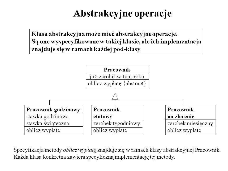 Abstrakcyjne operacje Klasa abstrakcyjna może mieć abstrakcyjne operacje. Są one wyspecyfikowane w takiej klasie, ale ich implementacja znajduje się w