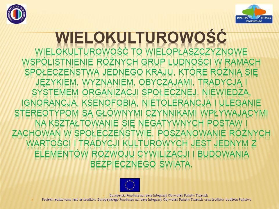 Europejski Fundusz na rzecz Integracji Obywateli Państw Trzecich Projekt realizowany jest ze środków Europejskiego Funduszu na rzecz Integracji Obywateli Państw Trzecich oraz środków budżetu Państwa Dialog międzykulturowy Pożądany efekt spotkania z inną kulturą.