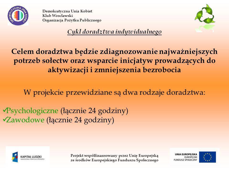 Demokratyczna Unia Kobiet Klub Wrocławski Organizacja Pożytku Publicznego Projekt współfinansowany przez Unię Europejską ze środków Europejskiego Funduszu Społecznego Cykl doradztwa indywidualnego Celem doradztwa będzie zdiagnozowanie najważniejszych potrzeb sołectw oraz wsparcie inicjatyw prowadzących do aktywizacji i zmniejszenia bezrobocia W projekcie przewidziane są dwa rodzaje doradztwa: Psychologiczne (łącznie 24 godziny) Zawodowe (łącznie 24 godziny)