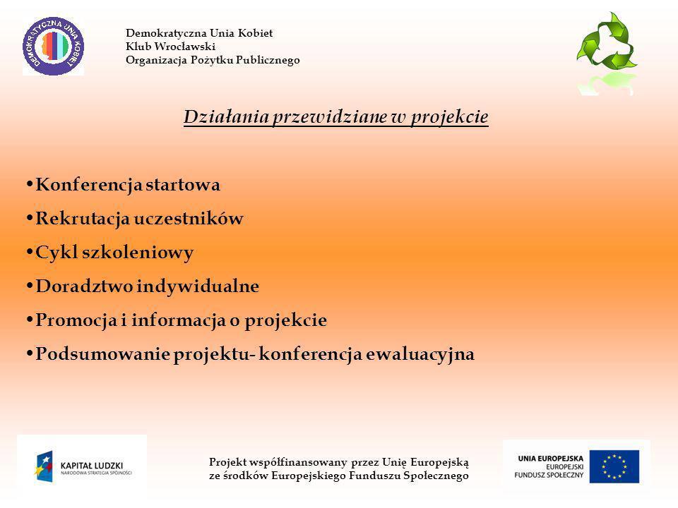 Demokratyczna Unia Kobiet Klub Wrocławski Organizacja Pożytku Publicznego Projekt współfinansowany przez Unię Europejską ze środków Europejskiego Funduszu Społecznego Działania przewidziane w projekcie Konferencja startowa Rekrutacja uczestników Cykl szkoleniowy Doradztwo indywidualne Promocja i informacja o projekcie Podsumowanie projektu- konferencja ewaluacyjna