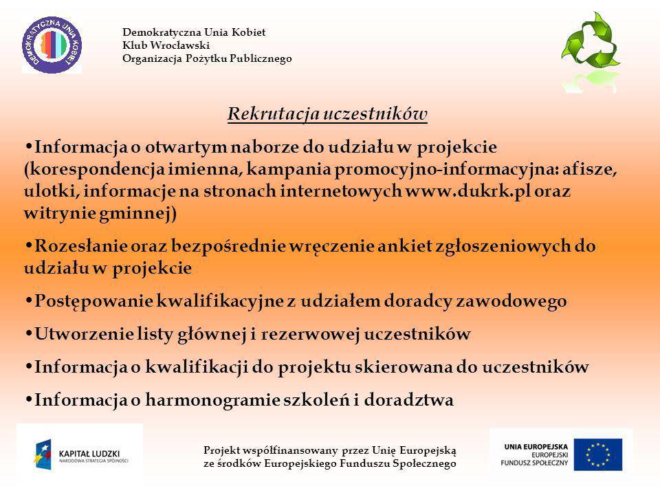 Demokratyczna Unia Kobiet Klub Wrocławski Organizacja Pożytku Publicznego Projekt współfinansowany przez Unię Europejską ze środków Europejskiego Funduszu Społecznego Rekrutacja uczestników Informacja o otwartym naborze do udziału w projekcie (korespondencja imienna, kampania promocyjno-informacyjna: afisze, ulotki, informacje na stronach internetowych www.dukrk.pl oraz witrynie gminnej) Rozesłanie oraz bezpośrednie wręczenie ankiet zgłoszeniowych do udziału w projekcie Postępowanie kwalifikacyjne z udziałem doradcy zawodowego Utworzenie listy głównej i rezerwowej uczestników Informacja o kwalifikacji do projektu skierowana do uczestników Informacja o harmonogramie szkoleń i doradztwa