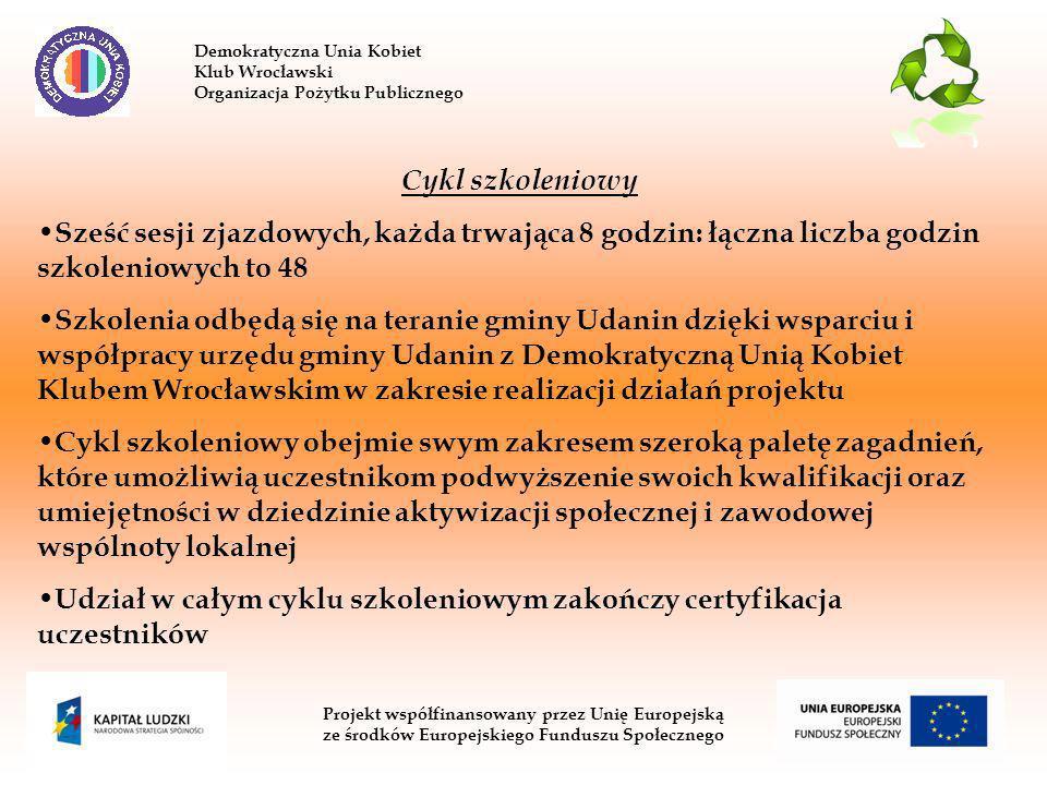 Demokratyczna Unia Kobiet Klub Wrocławski Organizacja Pożytku Publicznego Projekt współfinansowany przez Unię Europejską ze środków Europejskiego Funduszu Społecznego Cykl szkoleniowy Sześć sesji zjazdowych, każda trwająca 8 godzin: łączna liczba godzin szkoleniowych to 48 Szkolenia odbędą się na teranie gminy Udanin dzięki wsparciu i współpracy urzędu gminy Udanin z Demokratyczną Unią Kobiet Klubem Wrocławskim w zakresie realizacji działań projektu Cykl szkoleniowy obejmie swym zakresem szeroką paletę zagadnień, które umożliwią uczestnikom podwyższenie swoich kwalifikacji oraz umiejętności w dziedzinie aktywizacji społecznej i zawodowej wspólnoty lokalnej Udział w całym cyklu szkoleniowym zakończy certyfikacja uczestników